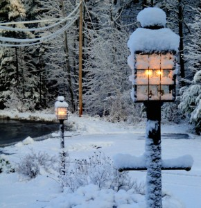 Lamps in the snow