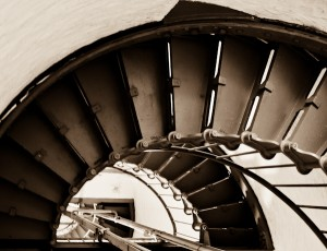 Hatteras Lighthouse Steps in Sepia