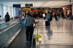 how to clean a moving walkway